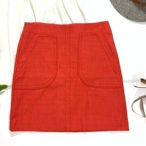 LOFT Textured Orange Mini Skirt with Pocket Trim 2